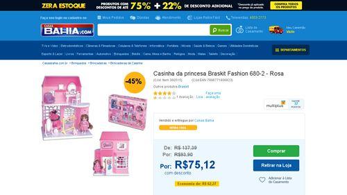 [Casas Bahia] Casinha da princesa Braskit Fashion 680 - 2 - Rosa - de R$ 91,09 por R$ 75,12 (17% de desconto)
