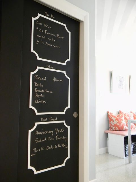 Sliding Closet Doors Updated With Chalkboard Paint And Fretwork By O Verlays I Would Love To Do This Diy Design Chalkboard Painted Doors