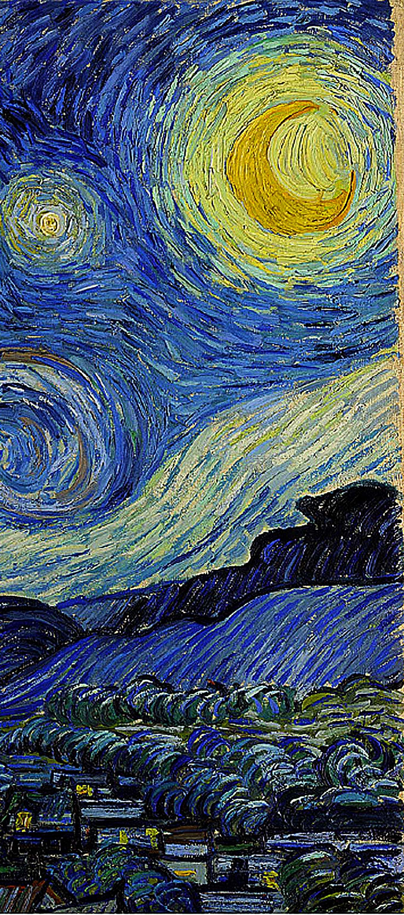 'Starry Night' detail 1889 Vincent van Gogh Art