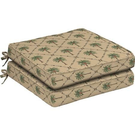 Buy Better Homes And Gardens Dining Seat Outdoor Cushion, Set Of 2, Palm  Trees