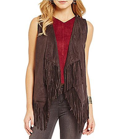 Blu Pepper FauxSuede FringeTrim Vest #Dillards