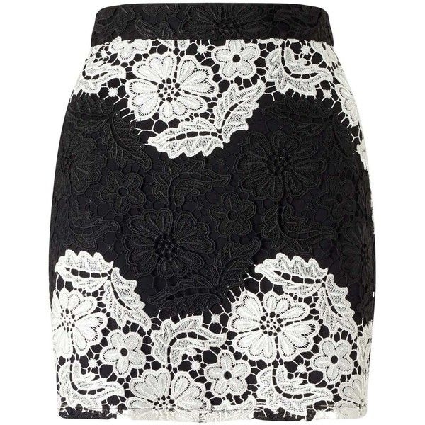 7e9c23100be4 Miss Selfridge PETITE Black and White Lace Mini Skirt ($42) ❤ liked on  Polyvore featuring skirts, mini skirts, black, petite, lace miniskirt, black  and ...