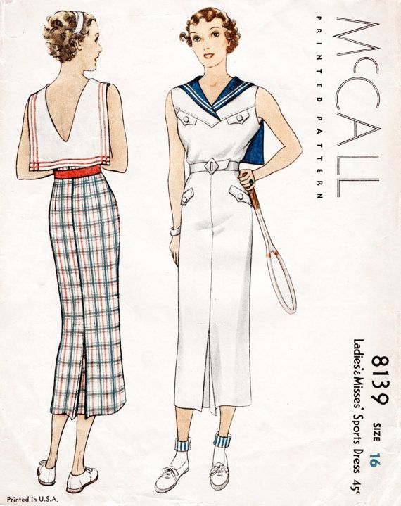 Vintage Sewing Pattern 30s 1930s Mccall Sports Dress Bust 34 English