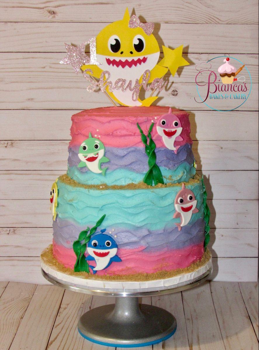Baby shark cake in 2020 shark cake cake desserts