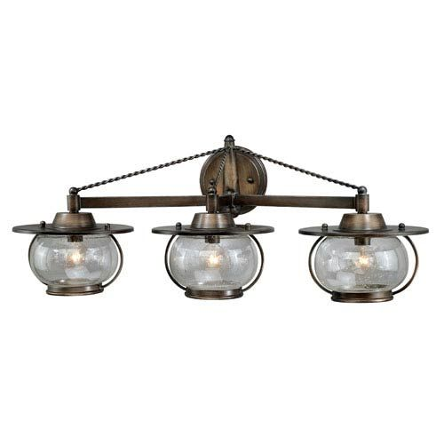 Photo of Vaxcel W0018 Jamestown three-light wall lamp for outdoor use in Parisian bronze, Early American | Bellacor