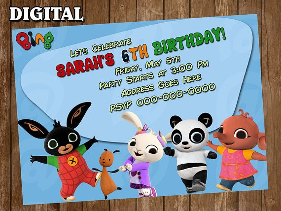 PARTY BIRTHDAY KIDS PERSONALISED BING BIRTHDAY CARD BEST ON !!
