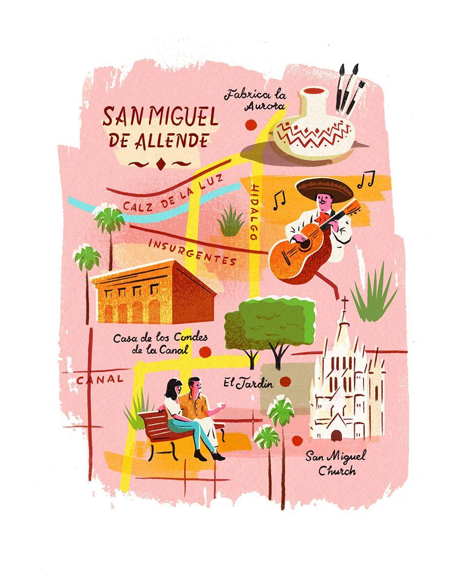 San Miguel de Allende by Owen Gately #illustratedmap ... on tulancingo mexico map, coba mexico map, mazamitla mexico map, ixtapan de la sal mexico map, torreón mexico map, chilapa mexico map, guanajuato mexico map, tequesquitengo mexico map, san miguel cozumel mexico map, punta chivato mexico map, plaza garibaldi mexico map, colima volcano mexico map, anenecuilco mexico map, valle de bravo mexico map, ayotzinapa mexico map, allende coahuila mexico map, tenayuca mexico map, excellence resorts mexico map, lake cuitzeo mexico map, lagos de moreno mexico map,