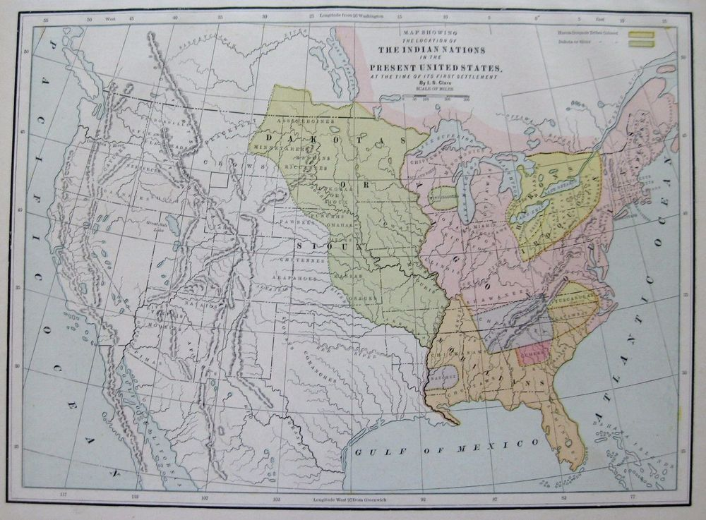 Antique UNITED STATES Map Of The INDIAN NATIONS Map - Indian nation map us