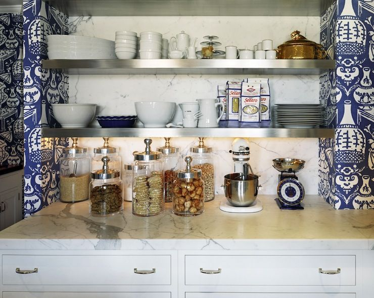 Fabulous White And Blue Kitchen With Walls Covered In David Hicks