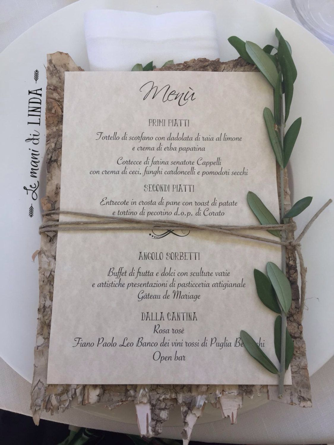 Menu Matrimonio Rustico : Country shabby chic menu with bark base