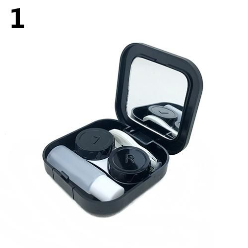 Portable Contact Lens Case Container Travel Kit Set Storage Holder Mirror Box - Black