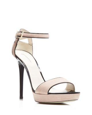 6fde1821397 Giorgio Armani Piped Ankle Strap High Heel Sandals