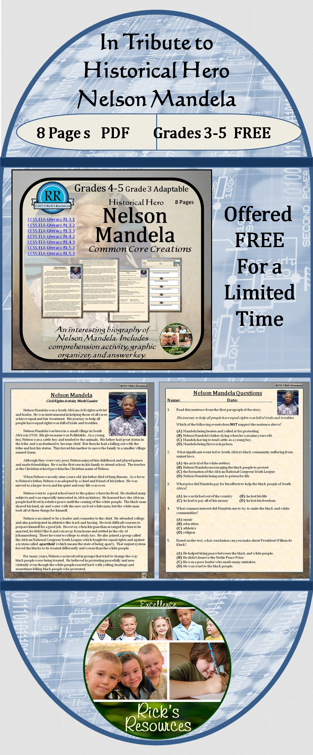 This is a graphic of Canny Nelson Mandela Worksheet