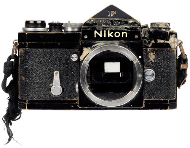 Photographer Don McCullin's Nikon F, which deflected a bullet from a Khmer Rouge AK47, narrowly missing his head.