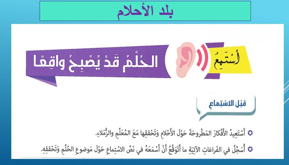 اللغة العربية بوربوينت استماع بلد الأحلام لغير الناطقين بها للصف التاسع Personal Care Person Toothpaste