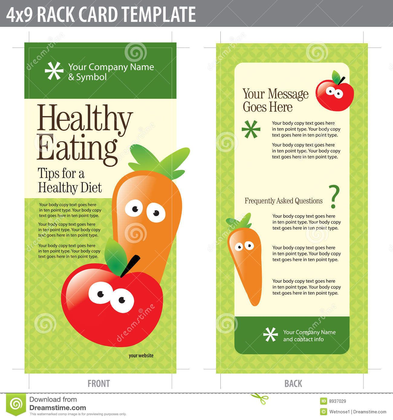 4x9 Rack Card Brochure Template Stock Vector Illustration In Nutrition Brochure Template Business Professio Brochure Template Rack Card Rack Card Templates