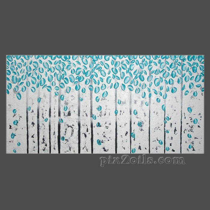 Abstract acrylic painting on large canvas birch trees forest landscape textured black white turquoise 3d art