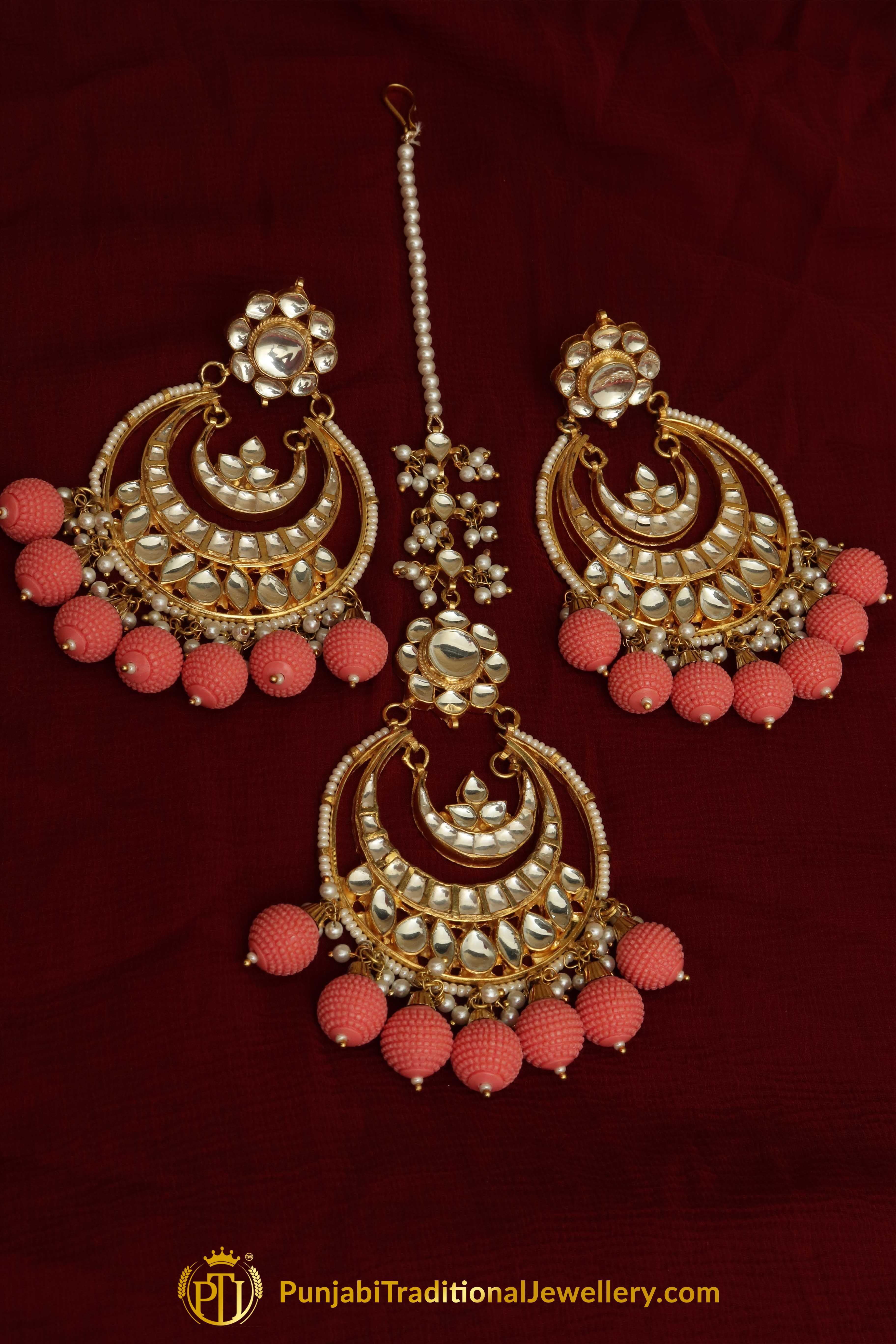1f90364111 Punjabi Traditional Jewellery · Pinterest: @PunjabiJewellery Pink Kundan  Earring Tikka Set You may visit: http:/