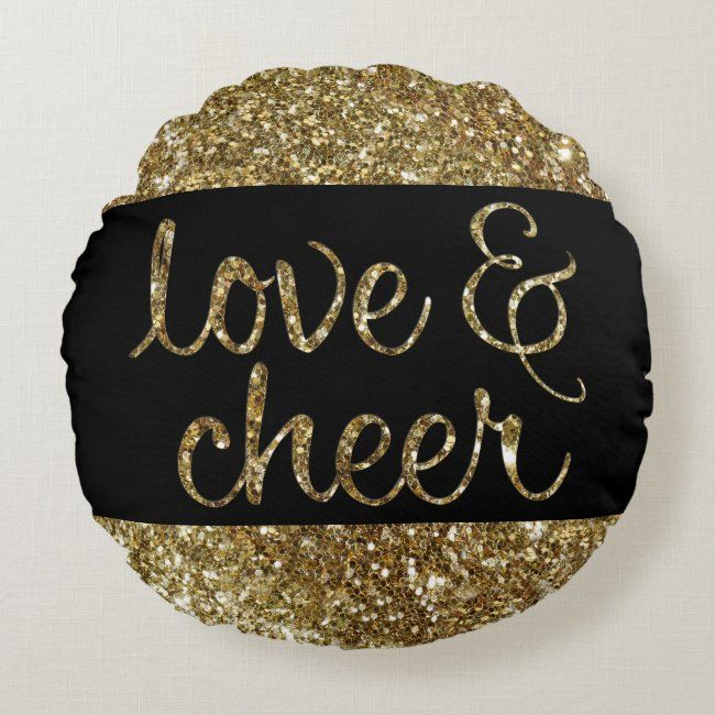 Love and Cheer Glitter Shiny Effect Christmas Round Pillow