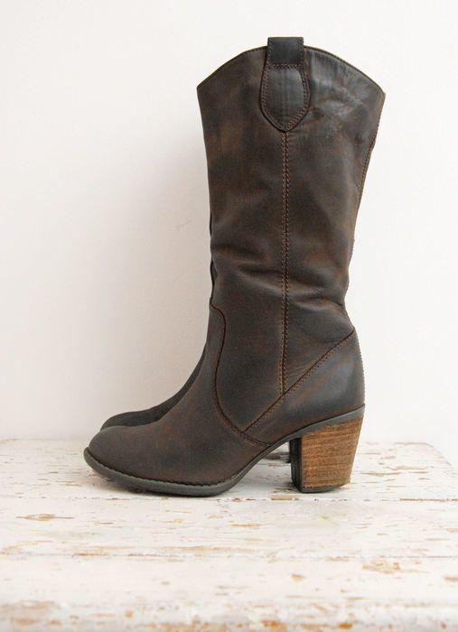 Buty Skorzane Brazowe Kozaki Skora Naturalna Na Obcasie Ciemny Braz Botki Wysokie Boots Cowboy Boots Shoes
