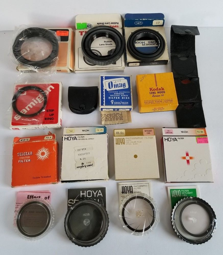 Vintage Filters And Lens Hood Lot Hoya Telesar Kodak Omag Tiffen Samigon Vivitar Bw Vintage Cameras Camera Flashes Vintage Filters