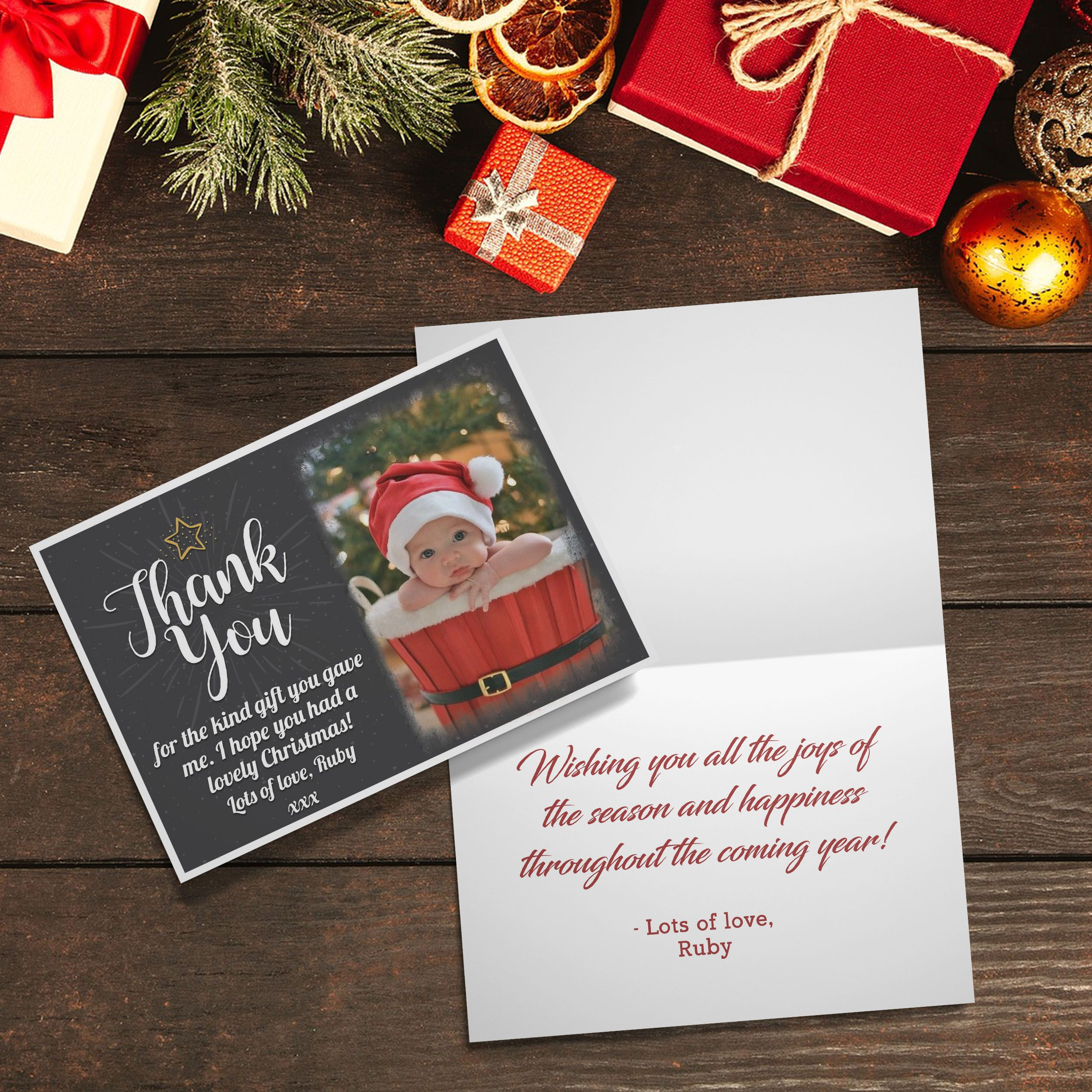Personalised Christmas Thank You Cards With Photo