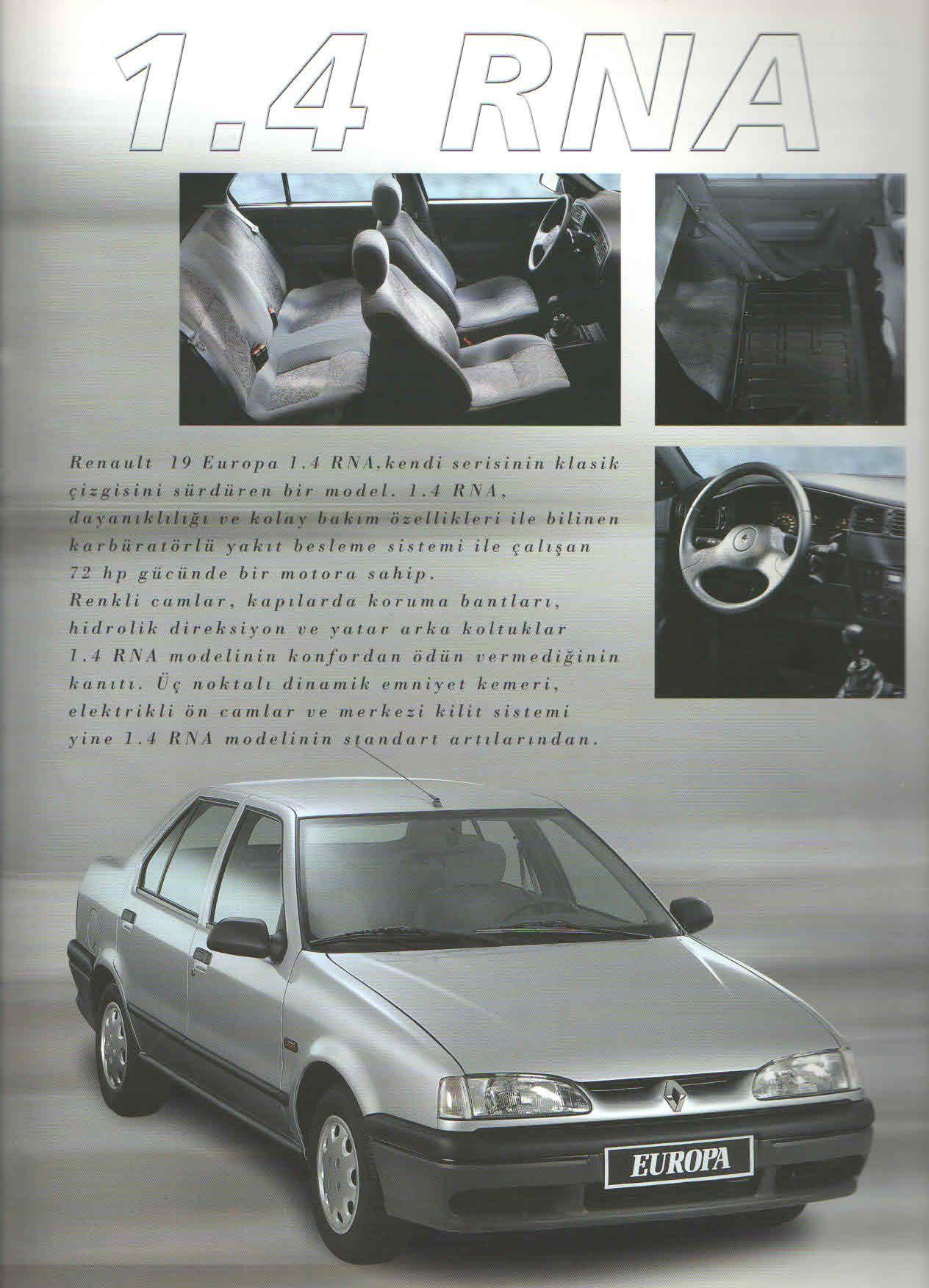 1998 Renault 19 Europa Turkish Catalog Page 17 20 1998 Renault 19 Europa Turkce Katalog Sayfa 17 20 Cars Renault Suv Car