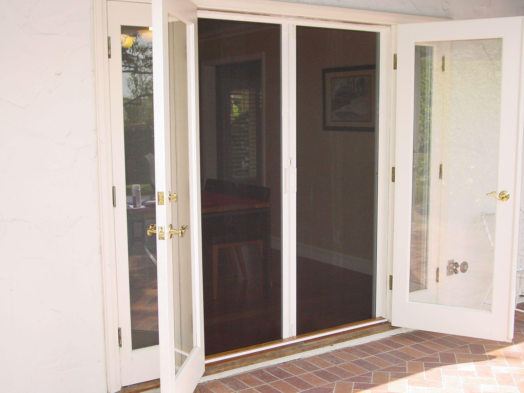 Kitchen window no trim  retractable screen for double doors