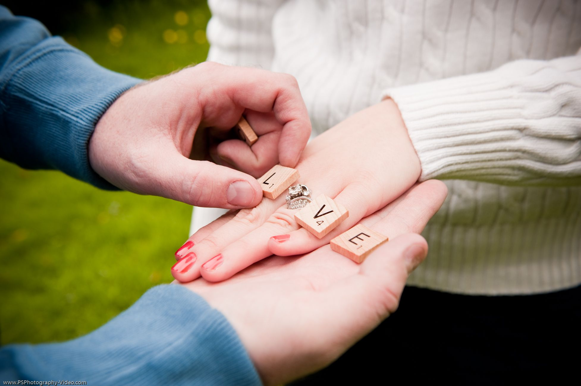 LOVE scrabble letters on hand for engagement photo, using the ring ...