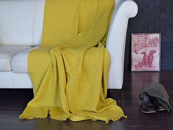 Senf Leinen Werfen Leinen Werfen Decke Schwere Gewicht Leinen