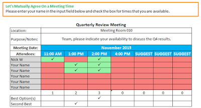 meeting schedule format excel