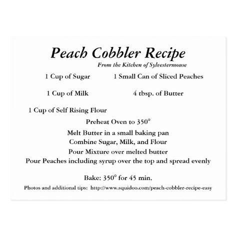 Peach Cobbler Recipe Postcard