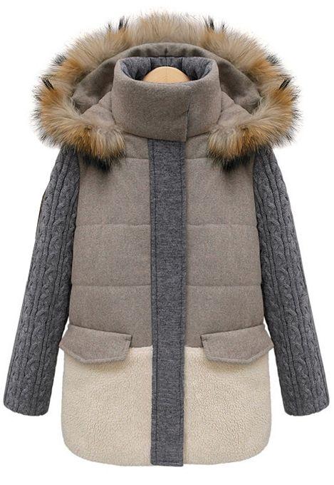 Khaki Contrast Grey Panel Detachable Fur Hood Coat Sheinside Com Ropa De Invierno Abrigos Con Capucha Abrigos