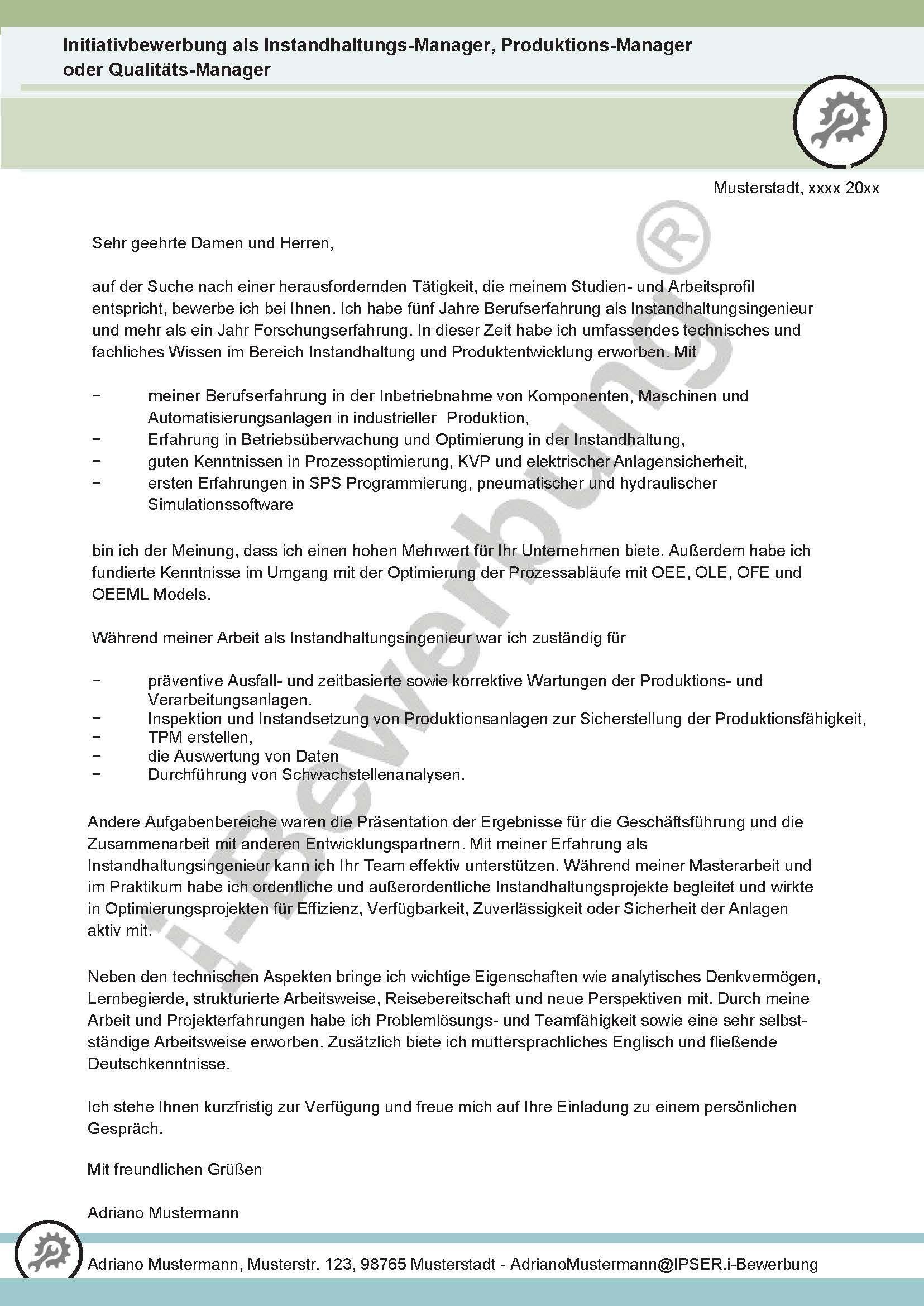 Initiativbewerbung Instandhaltungsmanager Anschreiben Adriano 631 In 2020 Bewerbung Schreiben Bewerbung Anschreiben Anschreiben