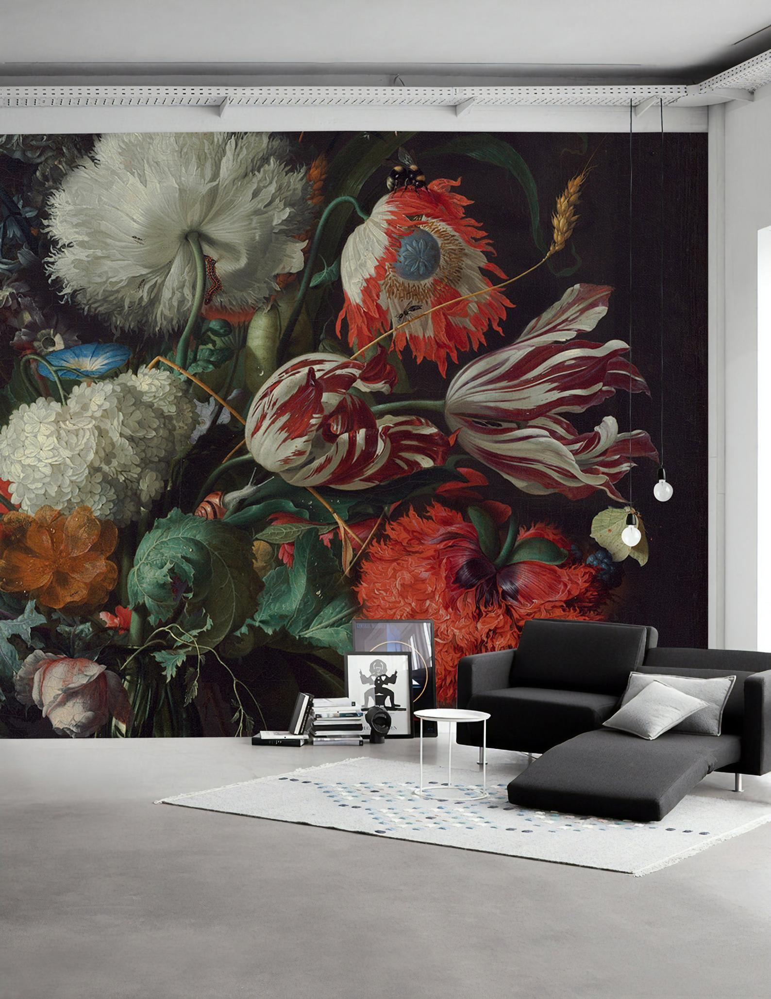 Dutch Dark Floral Wallpaper Tulip Flower Wall Mural Colorful Bouqet Wall Print Dutch Floral Wall Art Living Room Bedroom Flower Bedroom Floral Wallpaper Wall Murals