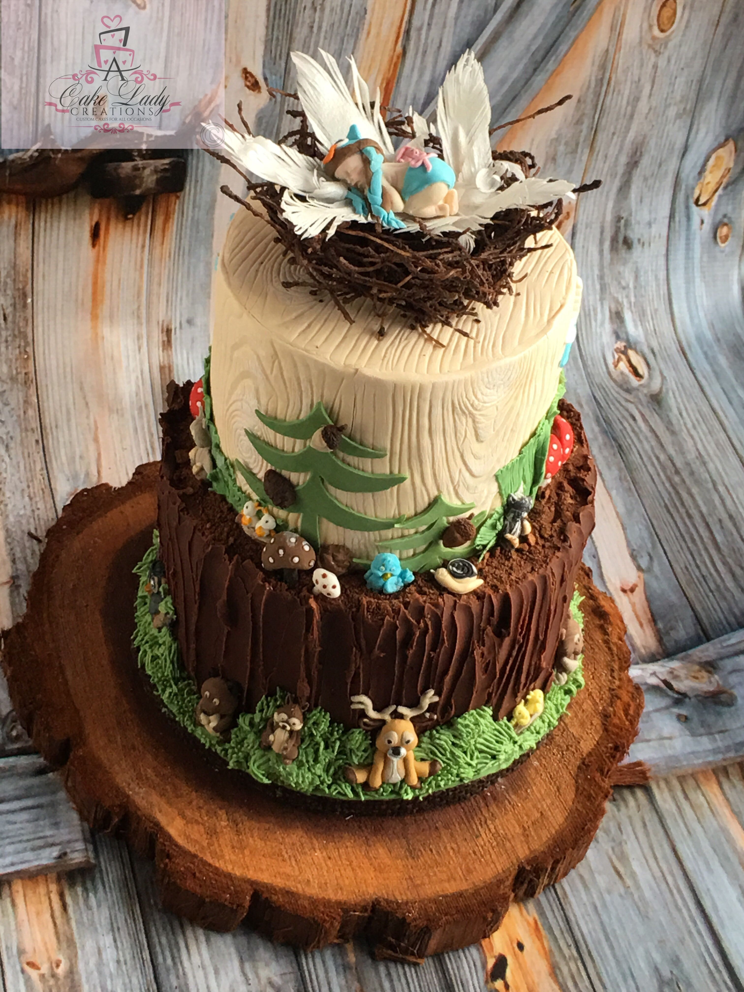 Woodland Animals Cake Topper Baby Owl In Nest Baban Shower