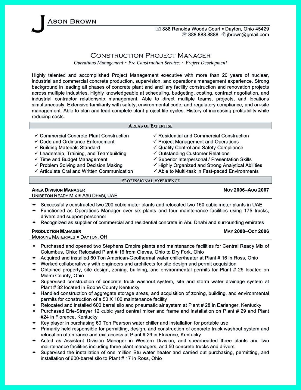 construction manager resume can be designed for a professional