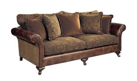 Leather Sofa With Cloth Cushions Bernhardt Henri