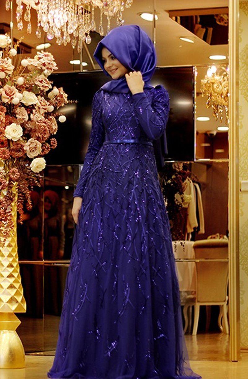 Pinar Sems Yagmur Abiye Saks Payet Elbise Elbiseler Elbise