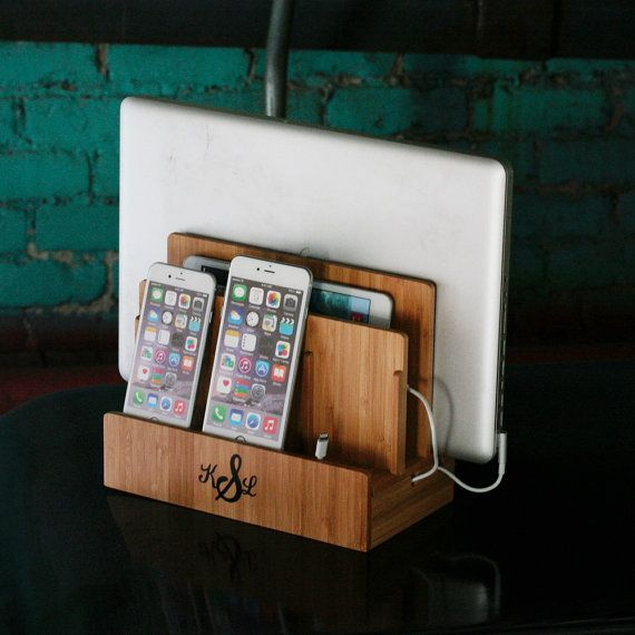 Customized Bamboo Multi Charging Station, Eco Friendly, Organizes Tech And  Cords, Charges Phone, Tablet, Laptop, Dock