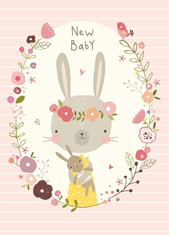 nikki upsher 39 ansichtkaart new baby pink 39 illustrations. Black Bedroom Furniture Sets. Home Design Ideas