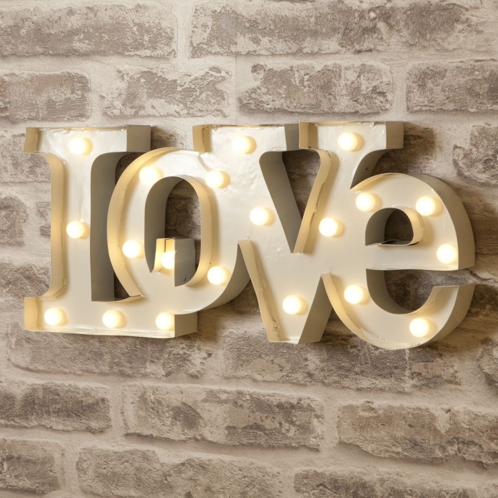 "Tin Letters With Lights Vegas Metal L.e.d 18"" Light Up Love Sign  White  Metals Lights"
