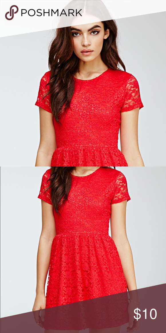 062a6774379 Red Floral Lace Skater Dress Red lace skater dress with floral embroidery