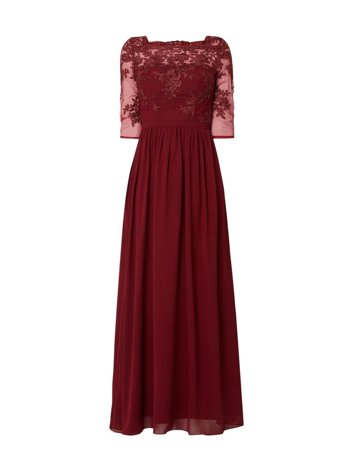 Chi Chi London Abendkleid Aus Chiffon Und Mesh In Rot Online Kaufen 9908763 P C Online Shop Abendkleid Abendkleid Bordeaux Kleid Bordeaux