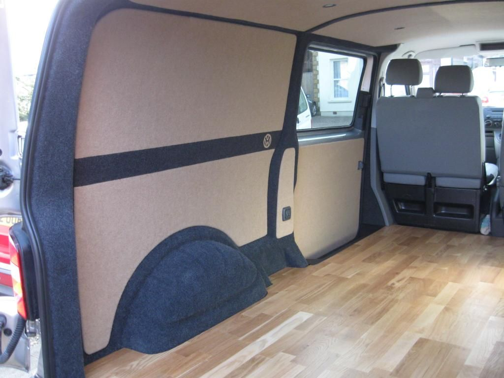 Show me a good examples of quality lining and carpet for Vw t4 interior designs