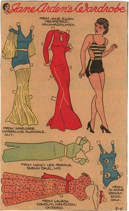 Jane Arden 8 04 1935 Paper Doll Paper Dolls Klippdockor