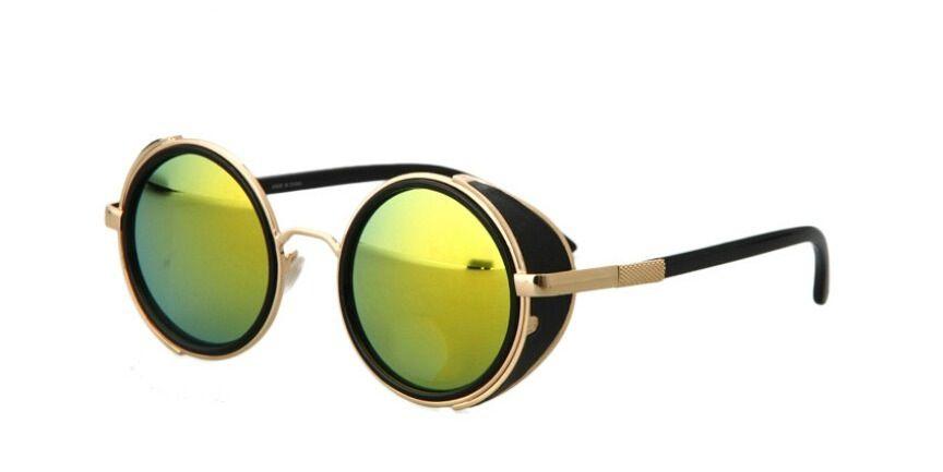 bcffc249a8a Image of Steampunk side shields Goggle Sunglasses. Semi-mirrored green  lenses. Retro. Hi Tek Ozzy Osbourne