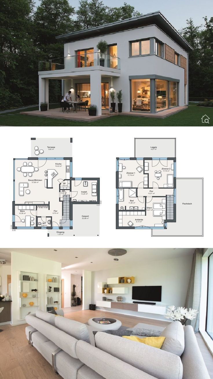 House Plans with 2 Story, 4 Bedroom & Flat Roof Modern Contemporary European Min #balconycurtains