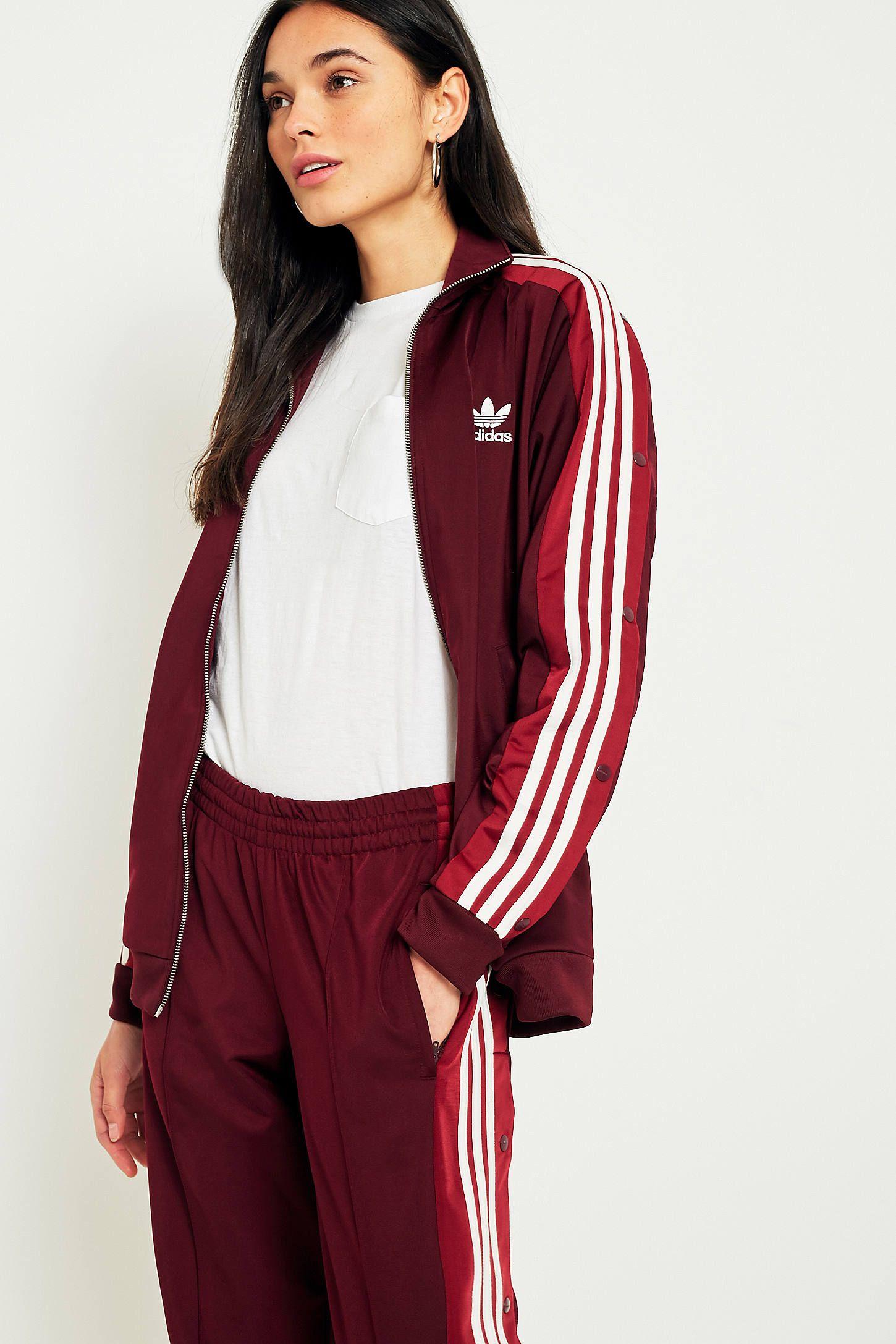 Adidas Originals adibreak Borgoña 3 Stripe Popper pista pantalones