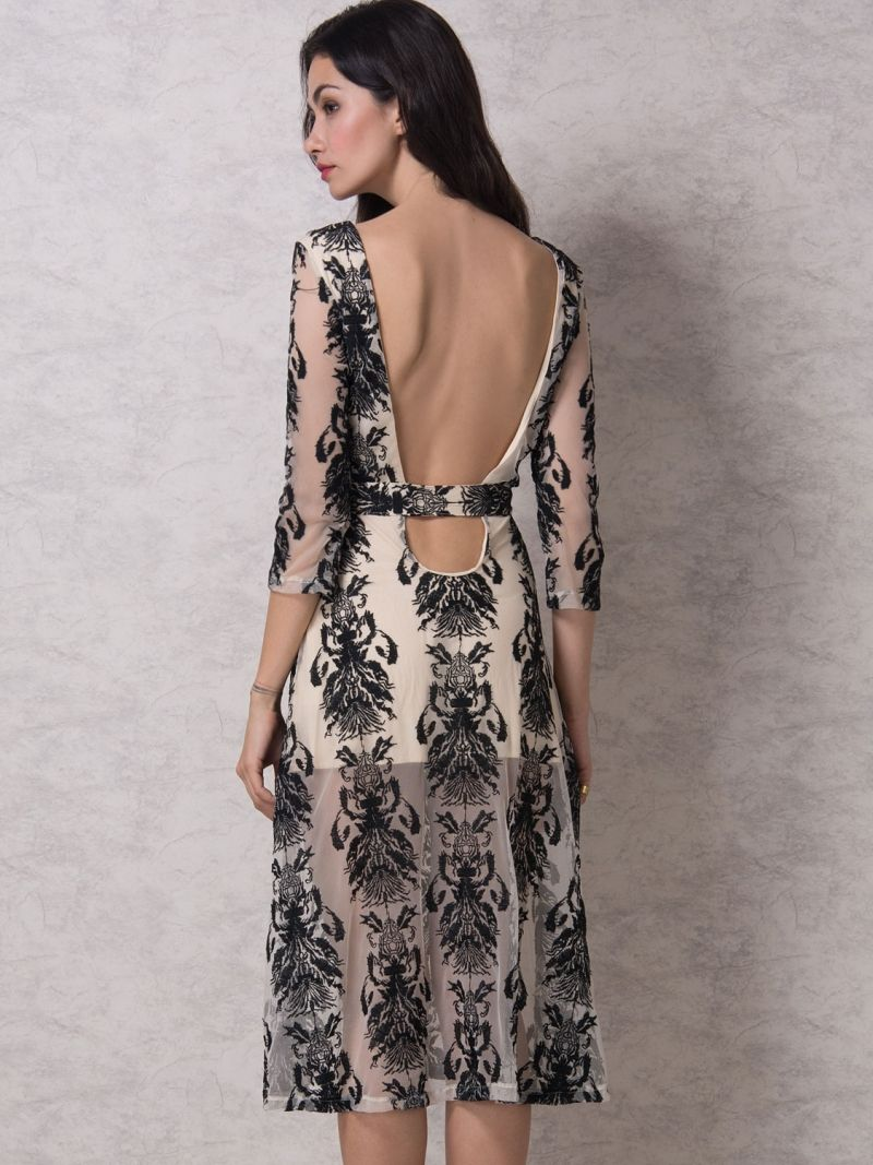 Buy Black Embroidery Sheer Mesh 3/4 Sleeve Backless Midi Dress from abaday.com, FREE shipping Worldwide - Fashion Clothing, Latest Street Fashion At Abaday.com
